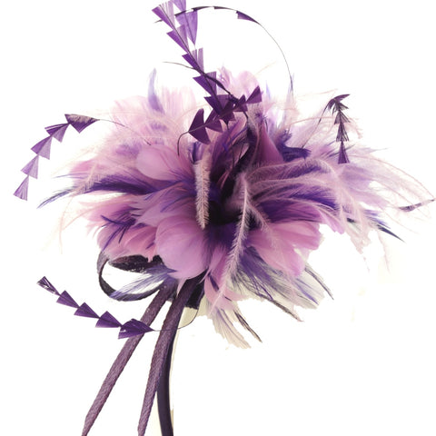 Peach Accessories fascinator in pink/purple on Alice band