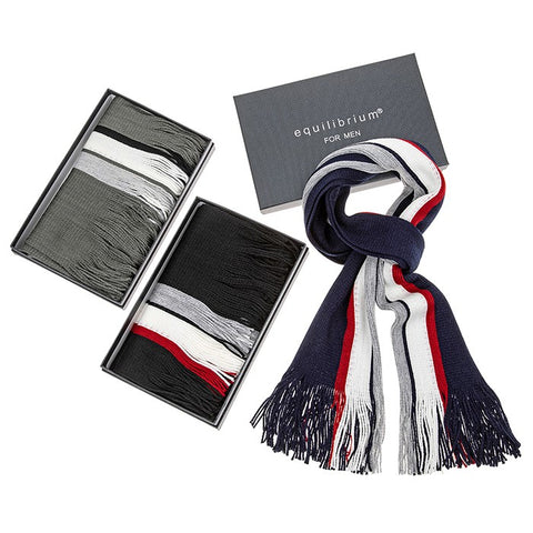 Equilibrium mens striped scarf