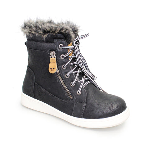 Lunar boots Addison black fur trim lace up and side zip white sole