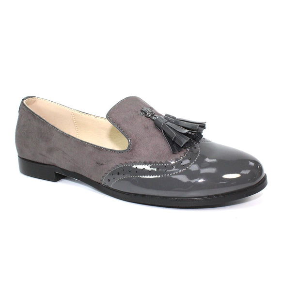 Lunar Bingley loafer in faux suede and patenet grey FLC177