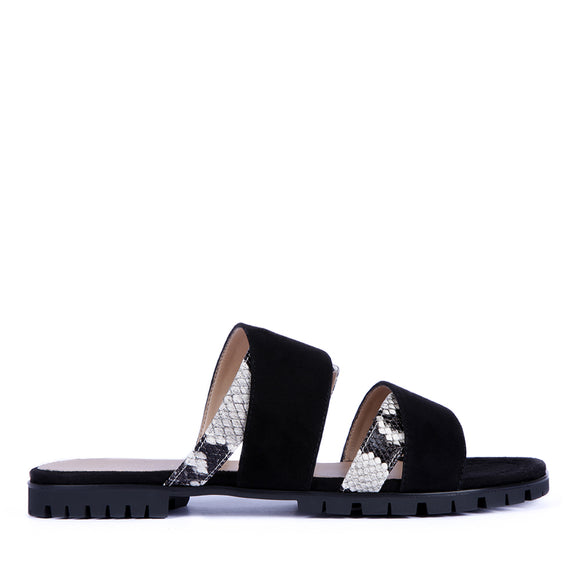 Slider ladies sandal by Unisa called Chaira in black suede and faux snake skin flat heel