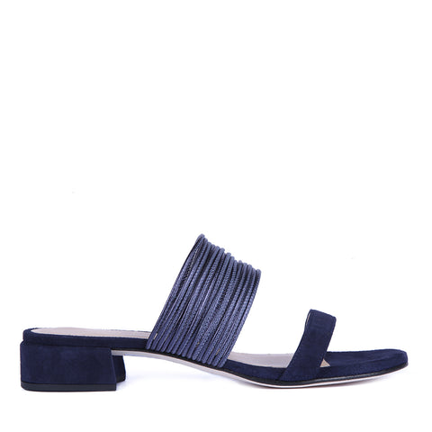 Doelia navy sandle by Unisa leather with string leather bands over instep