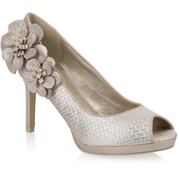 Donna heeled shoe by Ruby Shoo evening corsage gold