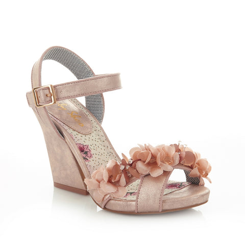 Ruby Shoo Ellen block heeled sandal with ankle strap and corsage