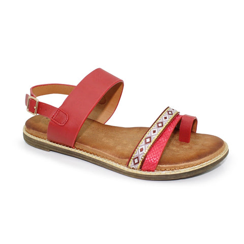 Eloise JLH030 sandal by Lunar in red with toe post synthetic flat heel