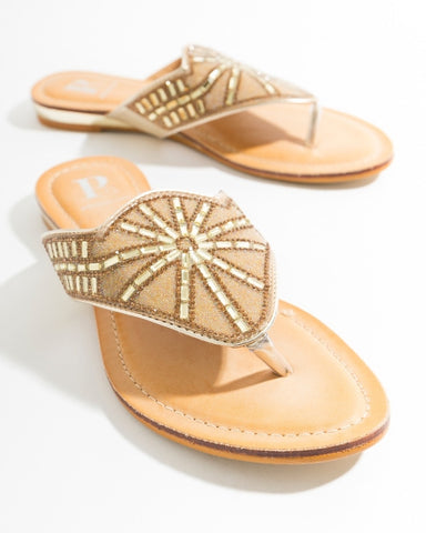 Este slide sandal with toe post by Pia Rossini Bling in red or gold