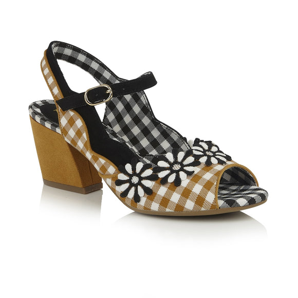 50% off Vegan friendly Ruby Shoo ankle strap Hera in Ochre gingham