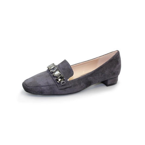 Lunar Kalista loafers in grey or black jewelled trim low heel
