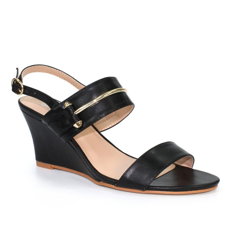Ladies sandal by Lunar wedge sandal JLH1010 black Lena