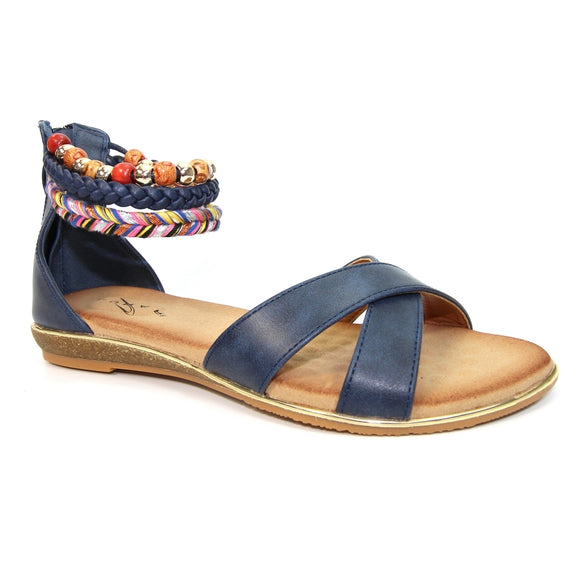 Lunar Mahiki glaiator style sandal in navy with beading aroung ankle