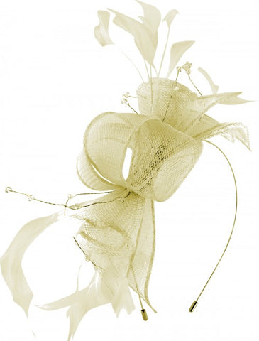 Sinamay fascinator by Max & Ellie ML13-CF1 suitable for races and spring or summer weddings on wire headband