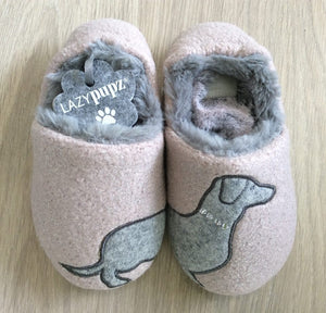 Lazy Dogs childrens slipper with Dachshund design in pink