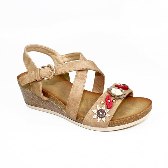 Sacha JLH021 wedge sandal by Lunar Taupe with flowers synthetic material