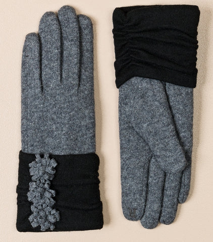 Trisha glove by Pia Rossini wool mix with faux fur grey or black tech-friendly finger tip