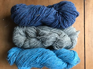 Three skeins for $15 - Quoddy Blue, Farmer's Grey, Maritime Blue