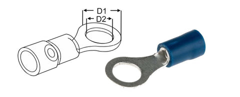 Ring Terminals Blue 1.5-2.5mm2 16-14 gauge multipacks