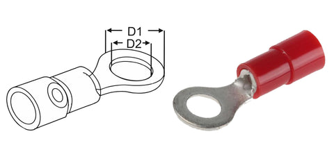 Ring Terminals Red 0.5-1.5mm2 22-16 gauge multipacks