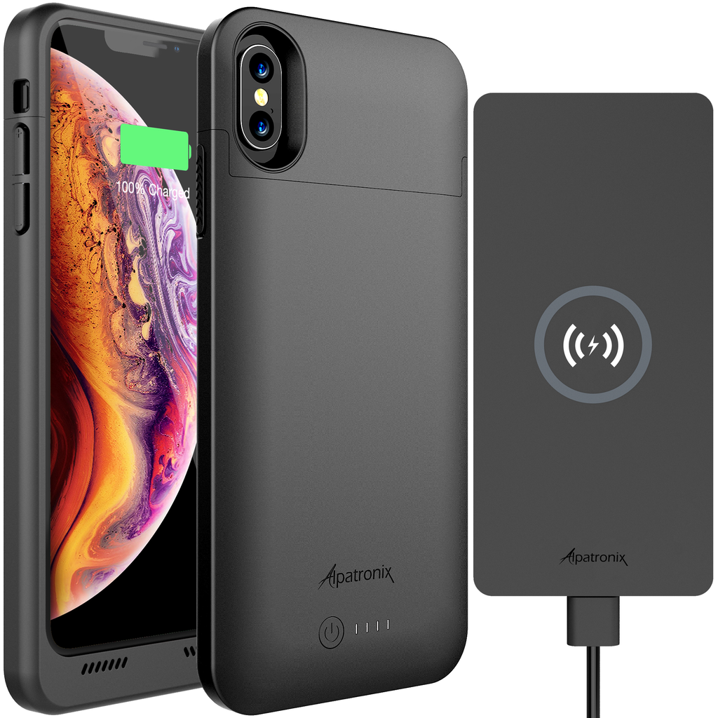 4200mAh Qi Compatible Battery Case for iPhone X & XS with 10W Qi Wireless Charging Pad (BXX+CX101 Bundle)