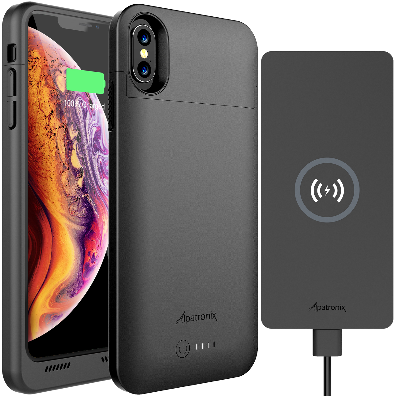 more photos 2c7f5 6a4b4 4200mAh Qi Compatible Battery Case for iPhone X & XS with 10W Qi Wireless  Charging Pad (BXX+CX101)