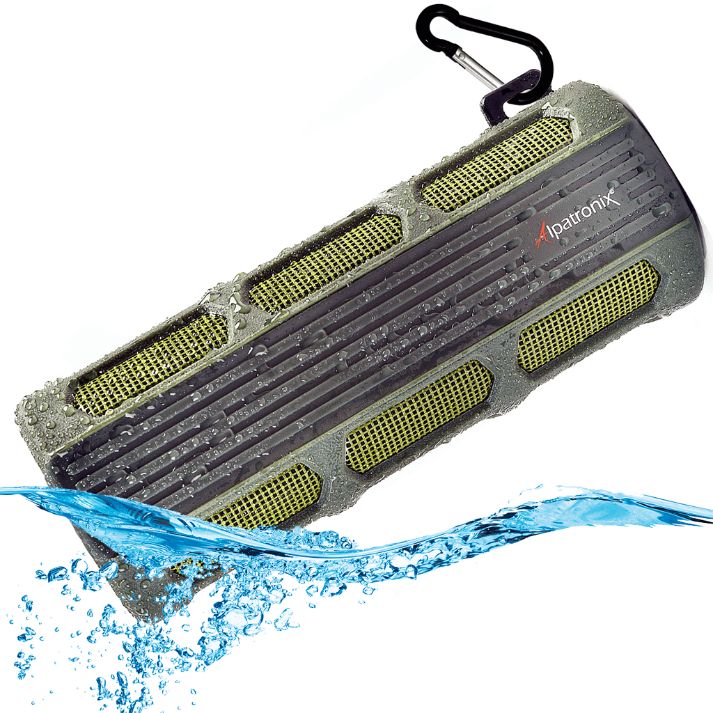 green ax410 waterproof bluetooth stereo speaker