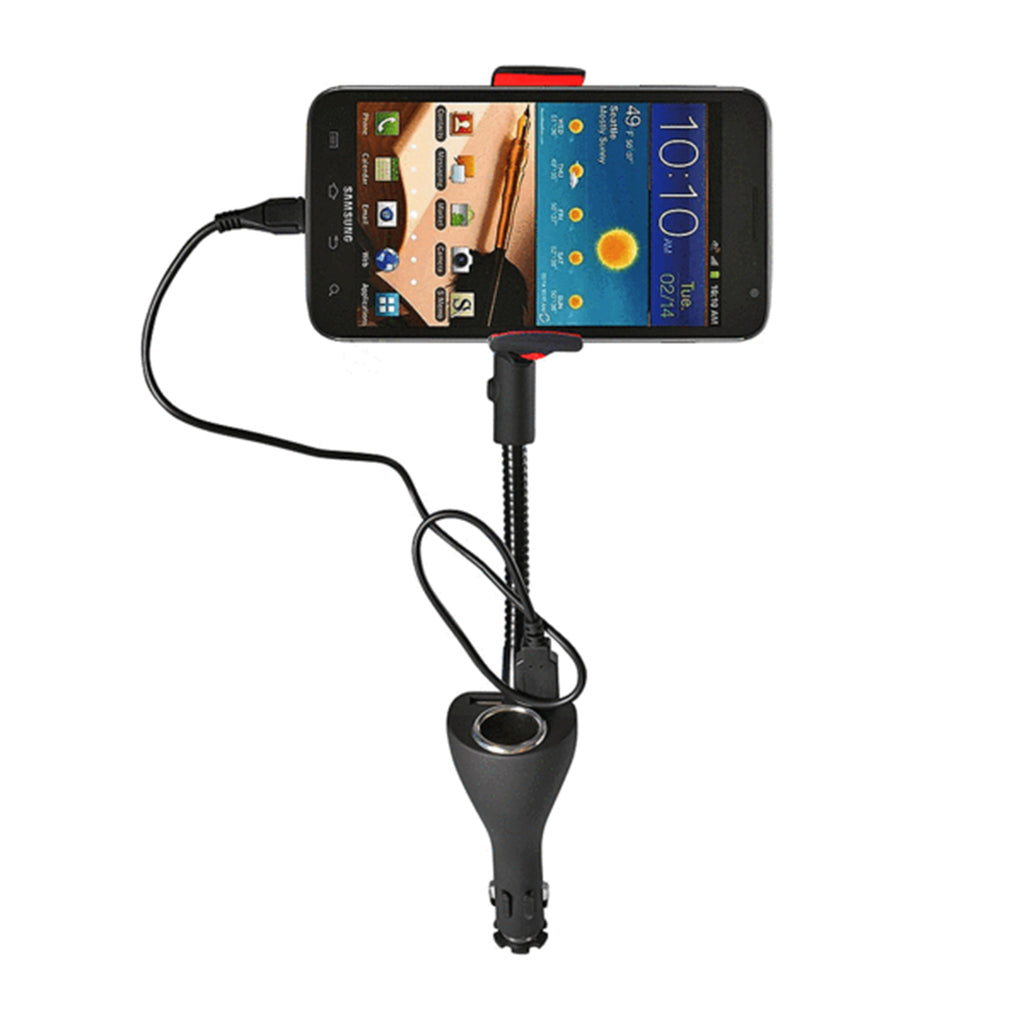 Universal Car Mount with 2 USB Ports & Cigarette Power Outlet (MX101)
