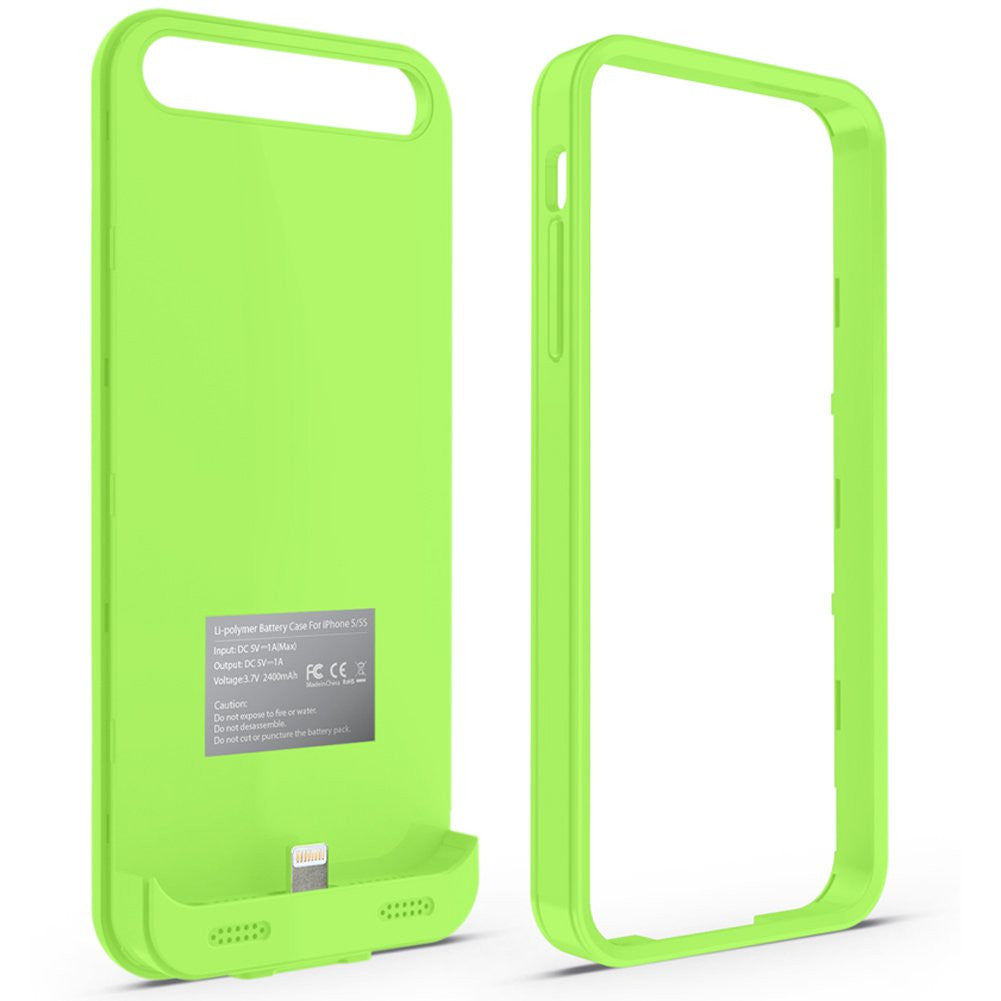 bx120plus iphone 5, 5s, 5c battery case - green