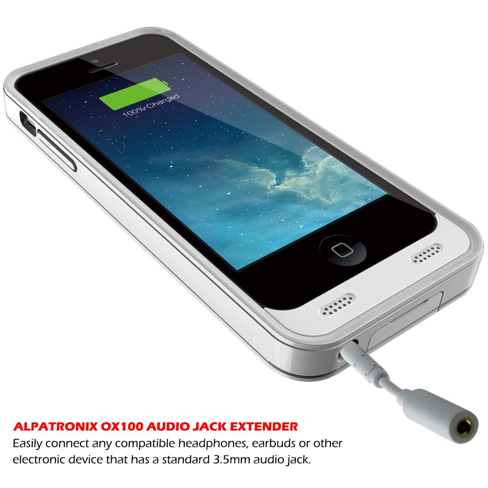 bx120plus iphone 5, 5s, 5c battery case - white