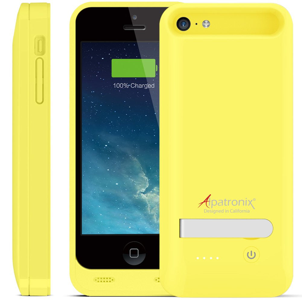 bx120plus iphone 5, 5s, 5c battery case - yellow