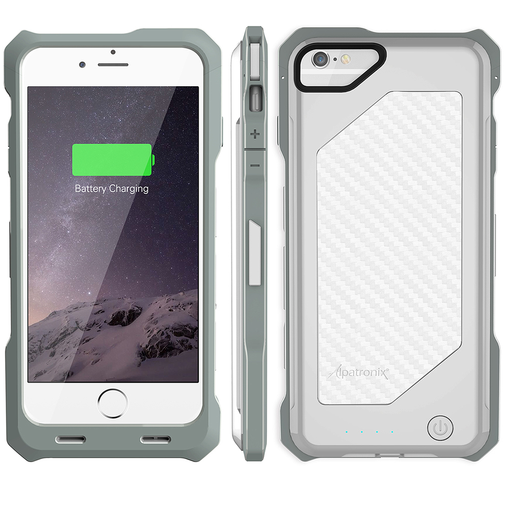 white bx150 iphone 6 battery case - carbon fiber back
