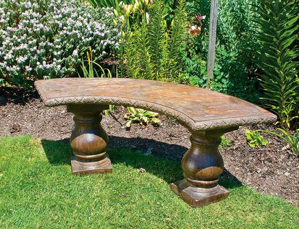 Curved Bench, Turned Pedestal Legs