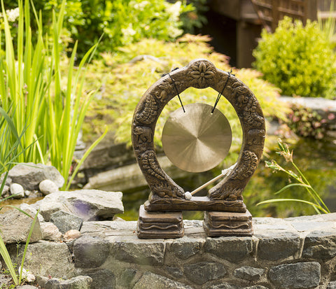 Buddhist Gong in Ancient Stone Finish