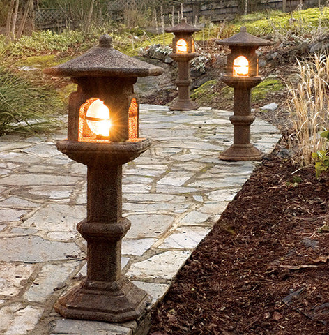 Japanese Lamps in Ancient Stone Finish