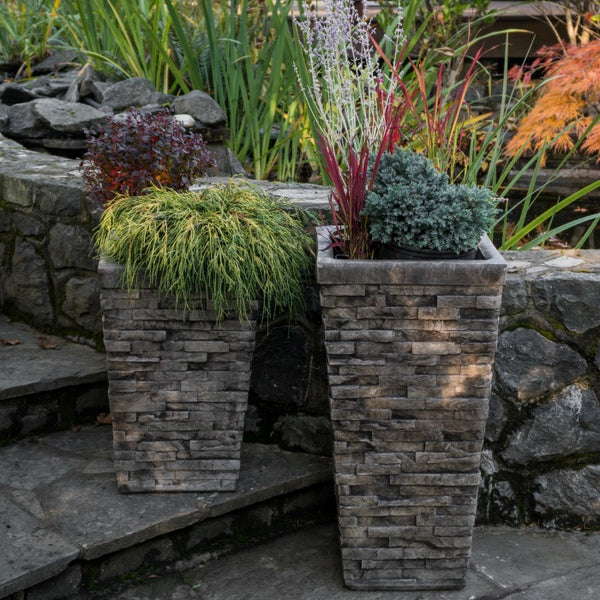 Stacked Stone Garden Planters, natural rock look