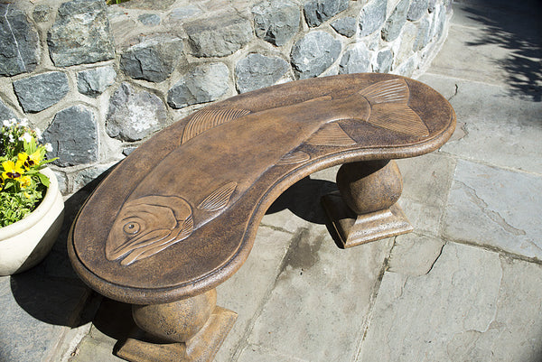 Trophy Fish Bench - Curved in Ancient Stone