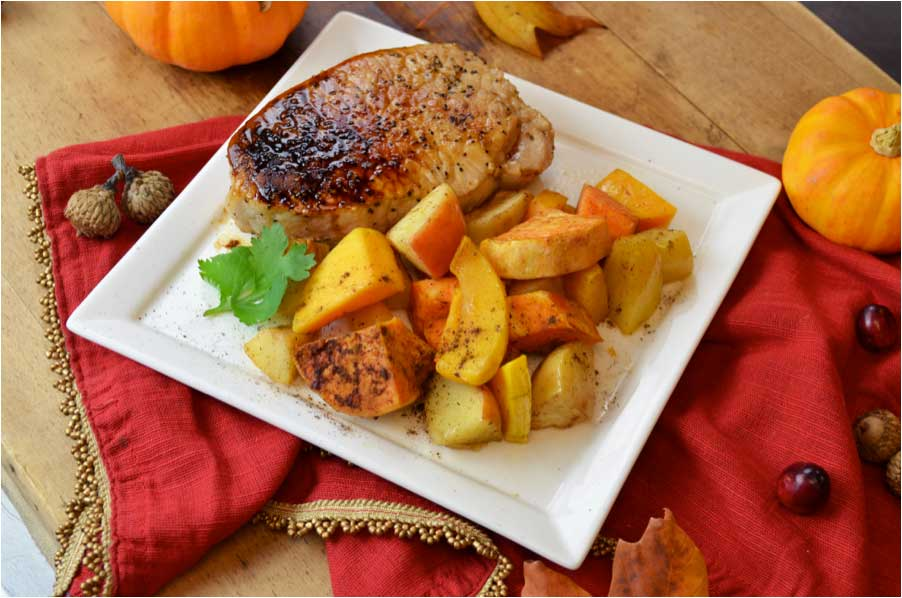 Cider Chops and Roasted Fall Veggie Mix