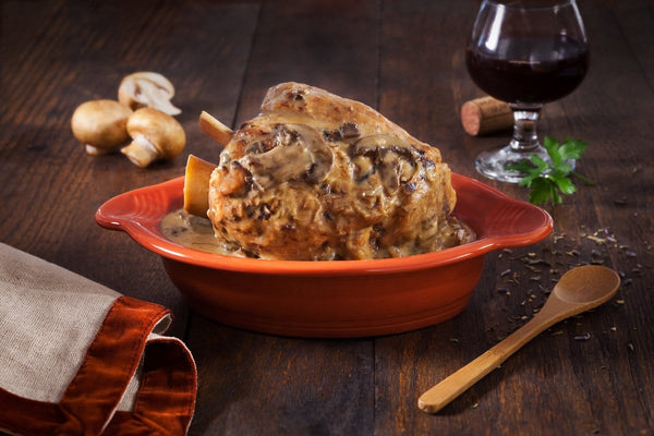Pork Shank with Portobello and Red Wine Mushroom Sauce