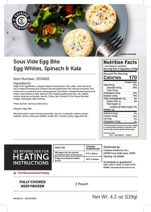 Egg White with Spinach and Kale Sous Vide Egg Bite
