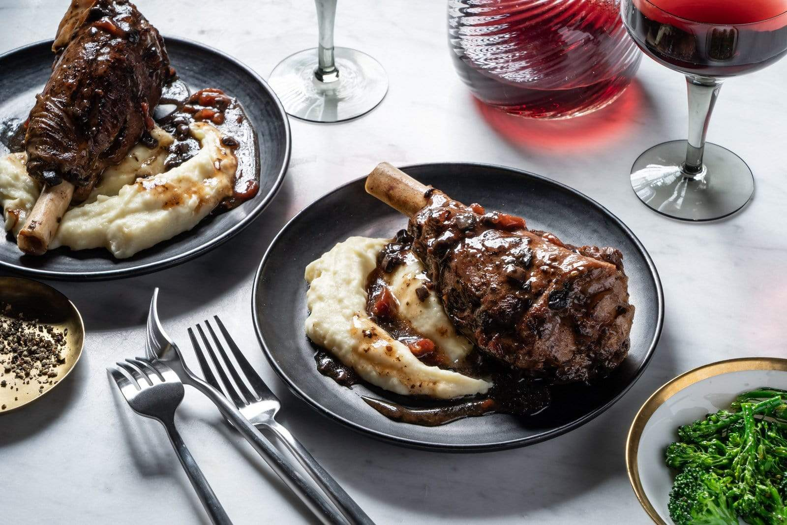 Lamb Shank with Portobello and Red Wine Sauce