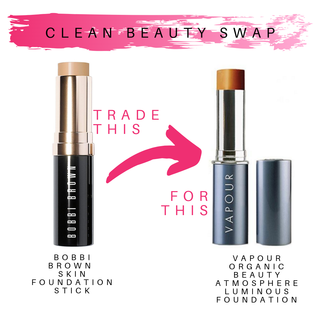 clean beauty swap. trade bobbi brown skin foundation stick for this vapour organic beauty atmosphere luminous foundation