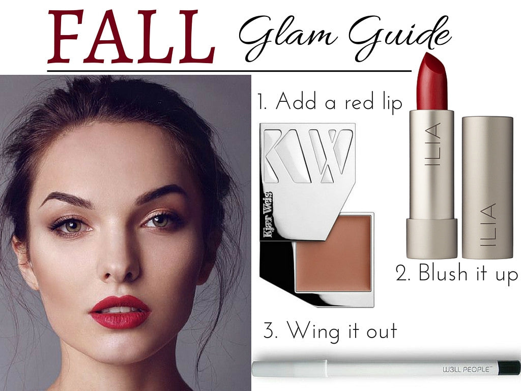 fall glam guide: 1. add a red lip 2. blush it up 3. wing it out