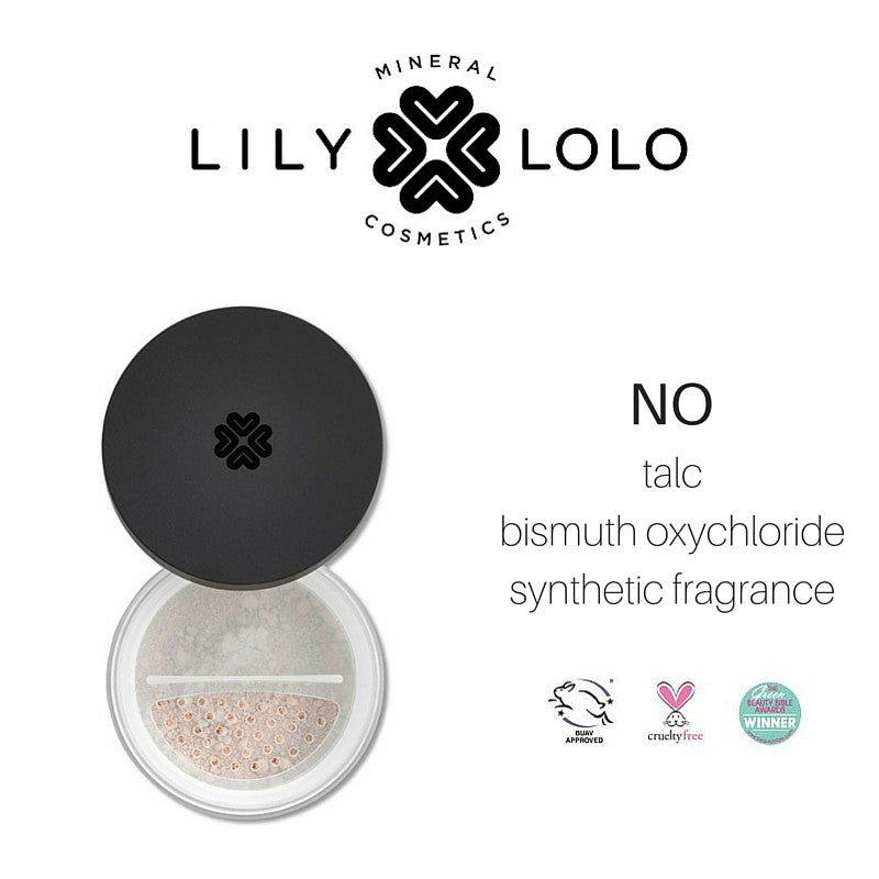 lily lolo powder: no talc, bismuth oxychloride, synthetic fragrance