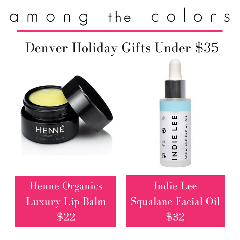 Denver holiday gifts under $35 featuring henné organics luxury lip balm and indie lee squalane facial oil. article from among the colors