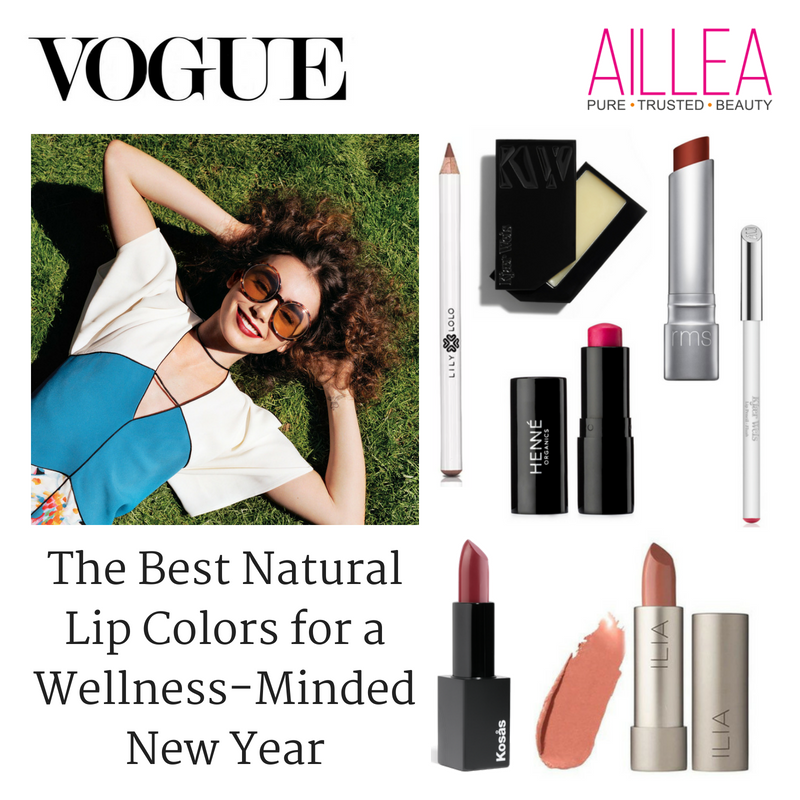 the best natural lip colors for a wellness minded new year. article from vogue. featuring products sold at aillea
