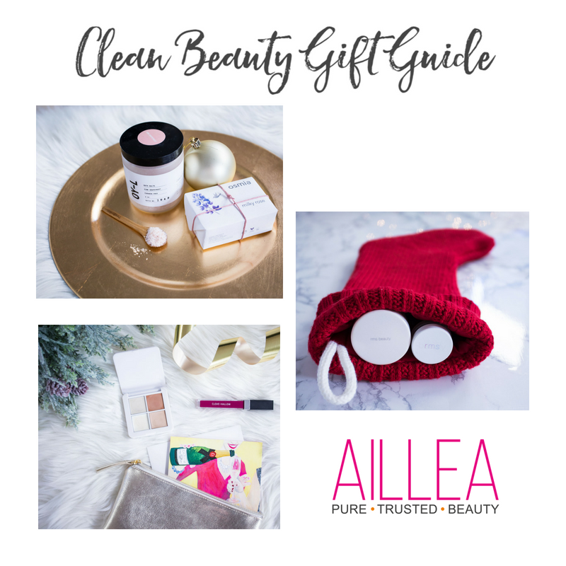 clean beauty gift guide featuring products sold at aillea