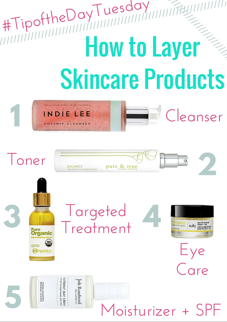 How to Layer Skincare Products: 1. cleanser, 2. toner, 3. targeted treatment, 4. eye care, 5. moisturizer and spf