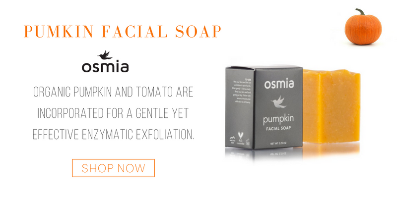 pumpkin facial soap from osmia. organic pumpkin and tomato are incorporated for a gentle yet effective enzymatic exfoliation.