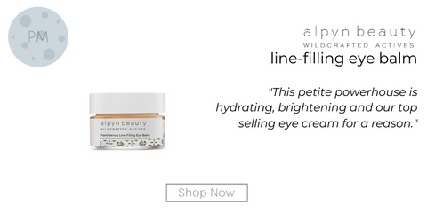 "line filling eye balm from alpyn beauty. ""This petite powerhouse is hydrating, brightening and our top selling eye cream for a reason."""