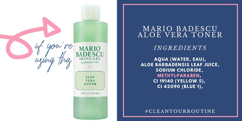 mario badescu aloe vera toner ingredients, including methylparaben
