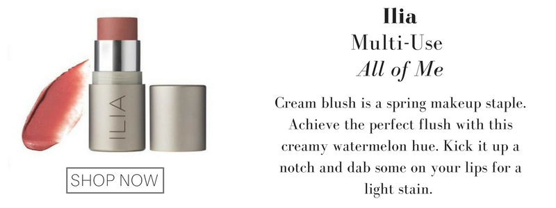 ilia multi-use in all of me: cream blush is a spring makeup staple. achieve the perfect flush with this creamy watermelon hue. kick it up a notch and dab some on your lips for a light stain.