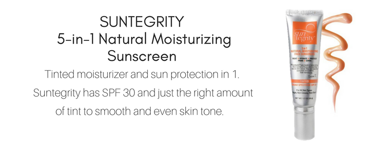 suntegrity 5-in-1 natural moisturizing sunscreen: tinted moisturizer and sun protection in 1. suntegrity has spf 30 and just the right amount of tint to smooth and even skin tone.